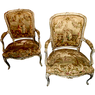 Pr 19th c. French open arm chairs, Aubusson  antique upholstery