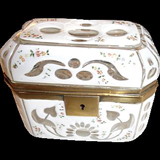 Antique Bhemian cut to clear  opaline box