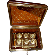 Antique Bohemian glass Box, Amber color  w/ 6 perfume bottles.