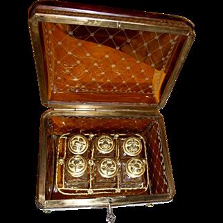 Antique Bohemian glass Box, Amber color  w/ 6 perfume bottles.