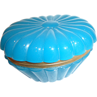 Antique Opaline glass box  oval shaped scalloped design