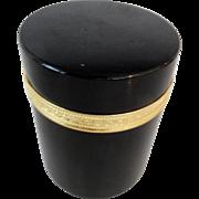 Cylinder shape  opaline glass box bronze mounts