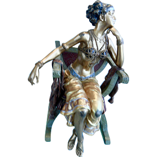 Vienna Cold Painted Bronze Orientalist Woman in chair. Signed Bergman