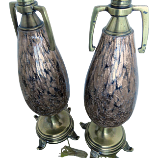 Pr Murano glass lamps aventurine gold flecks , gold to blackish brown,  Mid Century