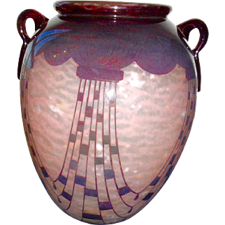 Charder, Schneider Glass French art deco ,  Cameo glass Vase signed Charder
