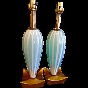 Pr. Vintage Murano Glass Lamps w/ Gilded wood gondola shape bases