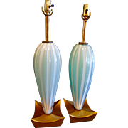 Pr. Vintage Murano Glass Lamps w/ Gilded wood gondola shape bases
