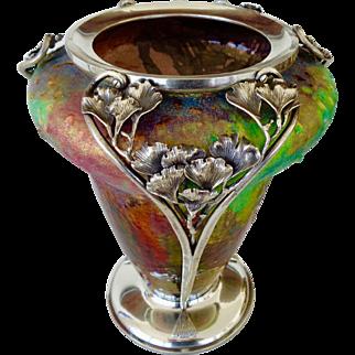 Art Nouveau  Vase enamel on copper  signed P. Bonnaud Limoges