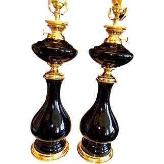 Vintage Murano glass Pair of Lamps Cenedese paper label