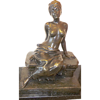 Rare bronze by Emanuel Villanis ,Nubian slave Girl w/ detachable skirt