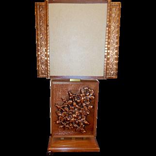 Vintage  repose copper ,wood and fiberglass parchment lamp   signed