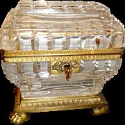 Antique Charles X cut crystal box ,  bronze mounts,feet, key