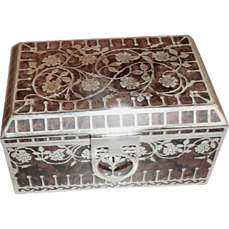 Antique Secessionist burled wood and nickel silver inlaid box