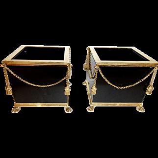 Pr .Opaline Black glass  box,cachepots ,bronze mounts