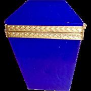 Vintage brilliant Blue opaline glass box