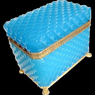Blue French Opaline glass box  bronze mounts, feet Textured surface