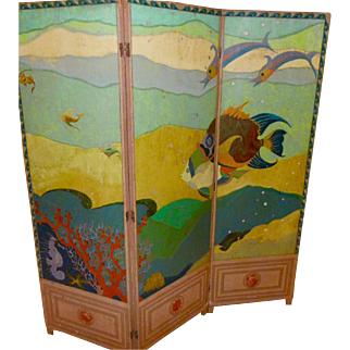 Hand Painted Three panel Screen  on wood,Fabulous sSa creatures in Fantasy deco style c. 1920- 30, signed