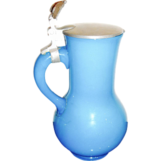 Antique opaline glass pitcher with Pewter lid with a eagle,
