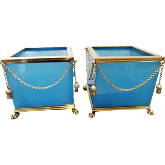 Vintage  Pair French opaline glass Cachepots
