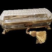 Antique cut crystal  Long box ,Bronze mounts paw feet .