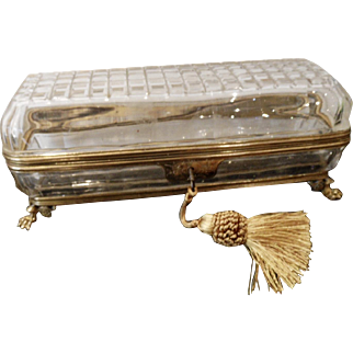 Antique cut crystal  Long box ,Bronze mounts paw feet .