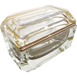 Vintage Murano glass box  Large size  clear glass