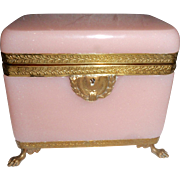Antique French opaline pink glass box ,casket  , Bronze mounts
