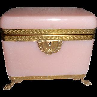 Antique French opaline pink glass box ,casket  , Bronze mounts