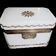Opaline glass box Murano Glass White gilded design Bronze Mounts