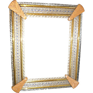 Vintage Murano glass and wood picture frame