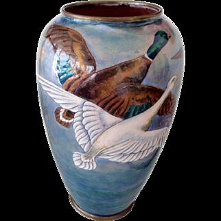 Antique Camille Faure/  Henrietta Marty Limoges enamel on Copper Vase