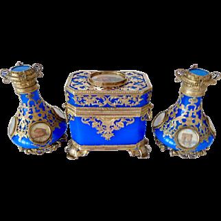 Antique opaline glass box w/ matching perfume bottles