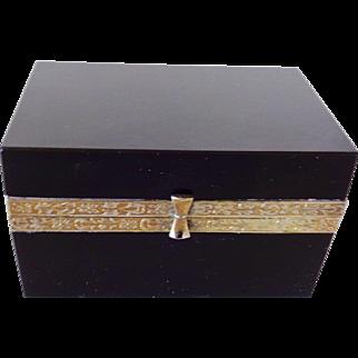 French opaline glass box  Black with bronze mounts