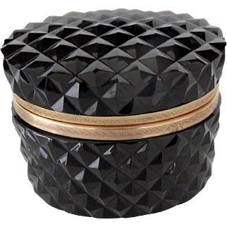 Vintage  french Black Opaline box  with a checker texture pattern