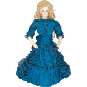 "Blue Silk Organza Dress for 14"" Antique French or German Fashion Doll"