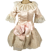 Antique Pink Silk and Ivory Lace Dress for Antique French or German Doll
