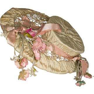 Antique Wired Silk and Lace Hat with Flowers for Antique French or German Doll