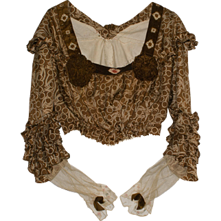 Antique Victorian Chocolate Brown Silk Print Blouse with Rich Brown Velvet and Embroidery Trim