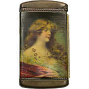 Art Deco Match Box with Portrait of Beautiful Lady, Includes Original Matches