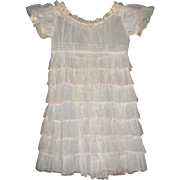 Vintage Ruffled Tulle Dress for Little Girl - Off White, Tiny Rosettes