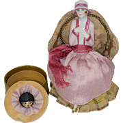 Fasold & Stauch German Half Doll with Legs Away on Powder Box with Powder Puff