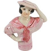 Japanese Flapper Half Doll with Hands on Hat and Hip
