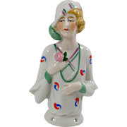 German Flapper Half Doll Hand Painted Porcelain with Pink Rose