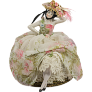Half Doll in Floral Dress with Bonnet