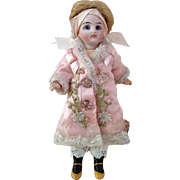 """Pink Antique Silk Dress for French 7"""" Mignonette Doll"""