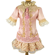 Pink Antique Silk and Beige Lace Dress with Tassel for a 19 inch Antique French or German Bebe Doll
