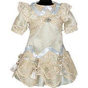 Pale Blue Antique Silk and Off White Lace Dress with Tassels for an Antique French or German Bebe Doll