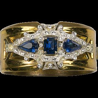 McClelland Barclay Simulated Sapphire and Diamond Art Deco Bangle Bracelet