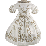 Embroidered White Dress for Antique French or German Doll