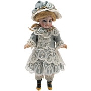 Antique Pale Blue Silk and White Lace Dress with Bonnet for 6-1/2 inch French Mignonette Doll